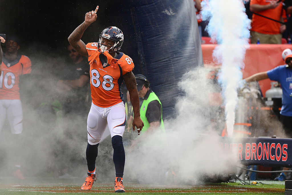 DENVER, CO - OCTOBER 30: Wide receiver Demaryius Thomas #88 of the Denver Broncos points up while introduced to the game against the San Diego Chargers at Sports Authority Field at Mile High on October 30, 2016 in Denver, Colorado.