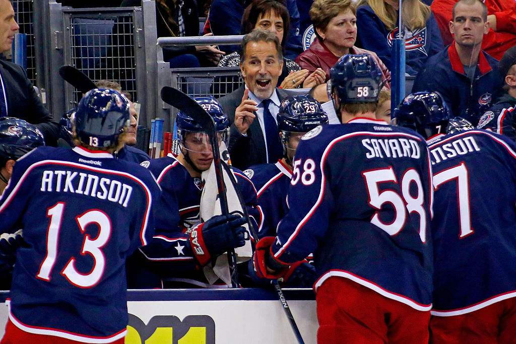 COLUMBUS, OH - NOVEMBER 14: Head Coach John Tortorella of the Columbus Blue Jackets speaks to his players during a time out in the game against the Arizona Coyotes on November 14, 2015 at Nationwide Arena in Columbus, Ohio. Columbus defeated Arizona 5-2.