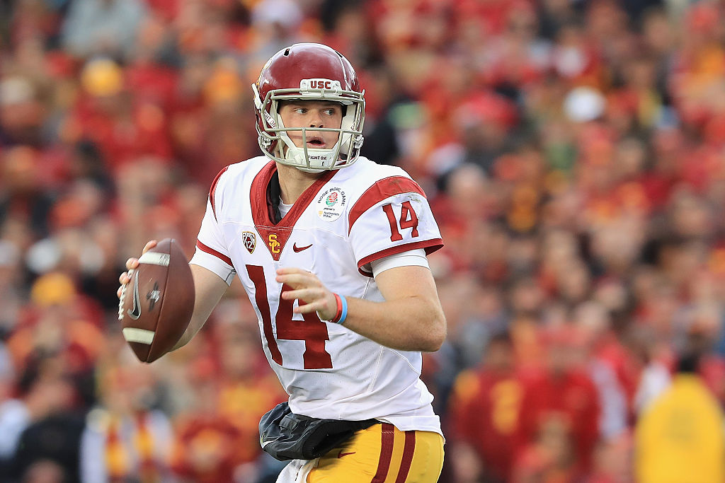 PASADENA, CA - JANUARY 02: Quarterback Sam Darnold #14 of the USC Trojans looks to pass the ball against the Penn State Nittany Lions during the 2017 Rose Bowl Game presented by Northwestern Mutual at the Rose Bowl on January 2, 2017 in Pasadena, California.