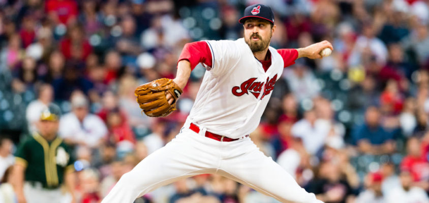 CLEVELAND, OH - MAY 30: Andrew Miller #24 of the Cleveland Indians pitches during the eighth inning against the Oakland Athletics at Progressive Field on May 30, 2017 in Cleveland, Ohio.