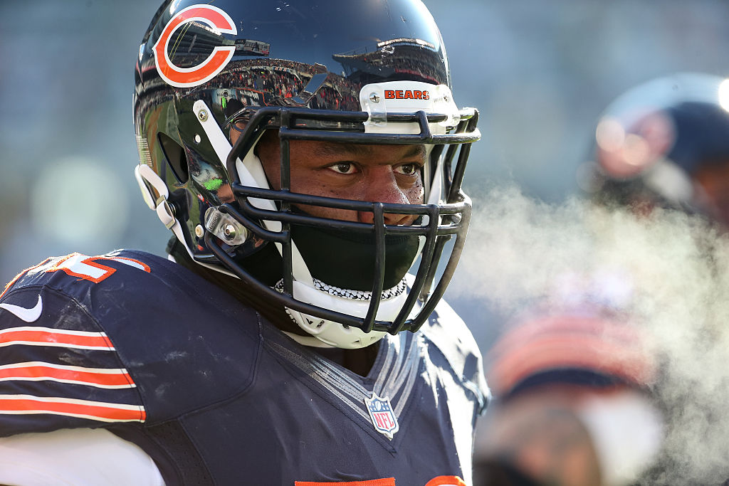 CHICAGO, IL - NOVEMBER 22: Charles Leno #72 of the Chicago Bears stands on the sidelines during warm-ups prior to the NFL game against the Denver Broncos at Soldier Field on November 22, 2015 in Chicago, Illinois.