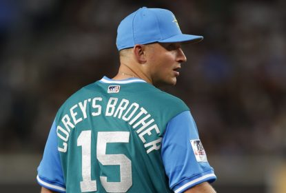 NEW YORK, NY - AUGUST 25: Kyle Seager #15 of the Seattle Mariners wears the name of his brother Corey on the back of his jersey during a game against the New York Yankees at Yankee Stadium on August 25, 2017 in the Bronx borough of New York City. The Mariners defeated the Yankees 2-1.