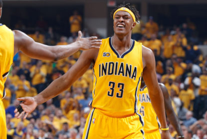 INDIANAPOLIS, IN - APRIL 20: Myles Turner #33 of the Indiana Pacers reacts in the second quarter of Game Three of the Eastern Conference Quarterfinals during the 2017 NBA Playoffs against the Cleveland Cavaliers at Bankers Life Fieldhouse on April 20, 2017 in Indianapolis, Indiana.