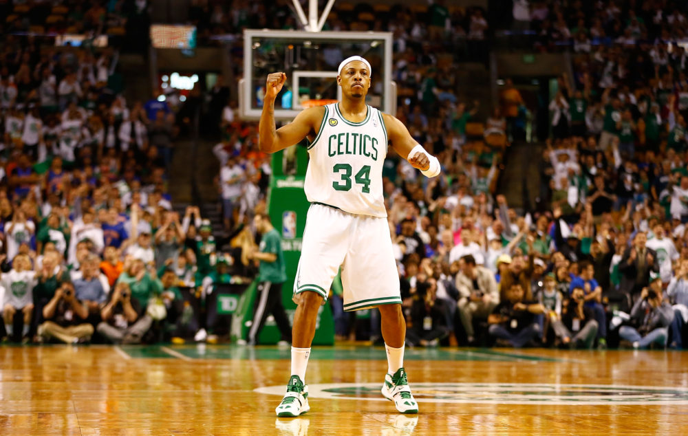 BOSTON, MA - APRIL 28: Paul Pierce #34 of the Boston Celtics celebrates after making a shot at the end of the second quarter against the New York Knicks during Game Four of the Eastern Conference Quarterfinals of the 2013 NBA Playoffs on April 28, 2013 at TD Garden in Boston, Massachusetts