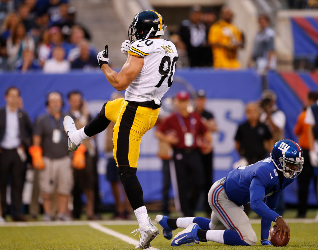 EAST RUTHERFORD, NJ - AUGUST 11: T.J. Watt #90 of the Pittsburgh Steelers reacts after sacking quarterback Josh Johnson #8 of the New York Giants during the first quarter of an NFL preseason game at MetLife Stadium on August 11, 2017 in East Rutherford, New Jersey.