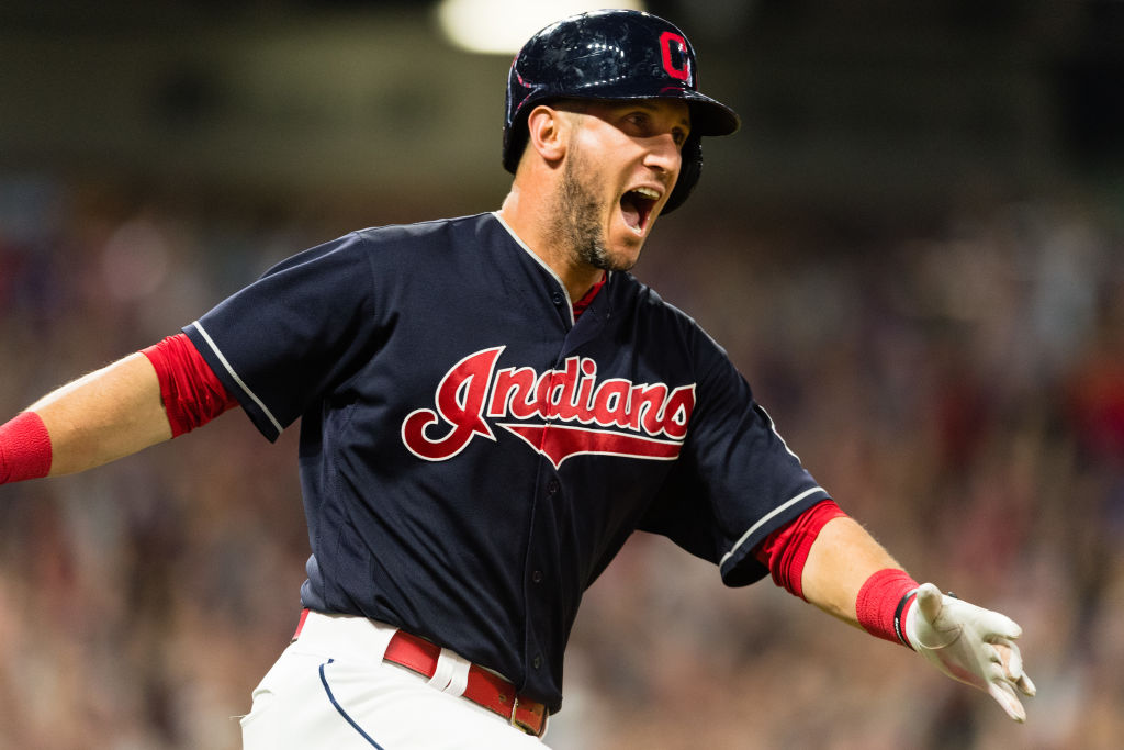 CLEVELAND, OH - AUGUST 8: Yan Gomes #7 of the Cleveland Indians celebrates after hitting a walk-off three run home run against the Colorado Rockies at Progressive Field on August 8, 2017 in Cleveland, Ohio. The Indians defeated the Rockies 4-1.