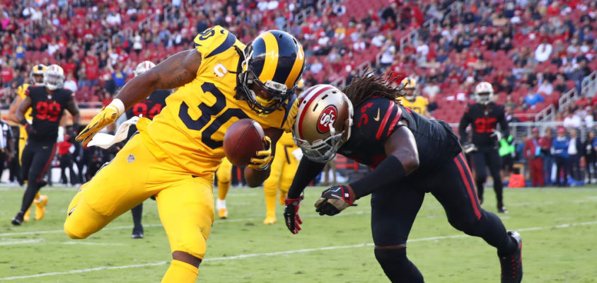 SANTA CLARA, CA - SEPTEMBER 21: Todd Gurley #30 of the Los Angeles Rams rushes for a touchdown against the San Francisco 49ers during their NFL game at Levi's Stadium on September 21, 2017 in Santa Clara, California.