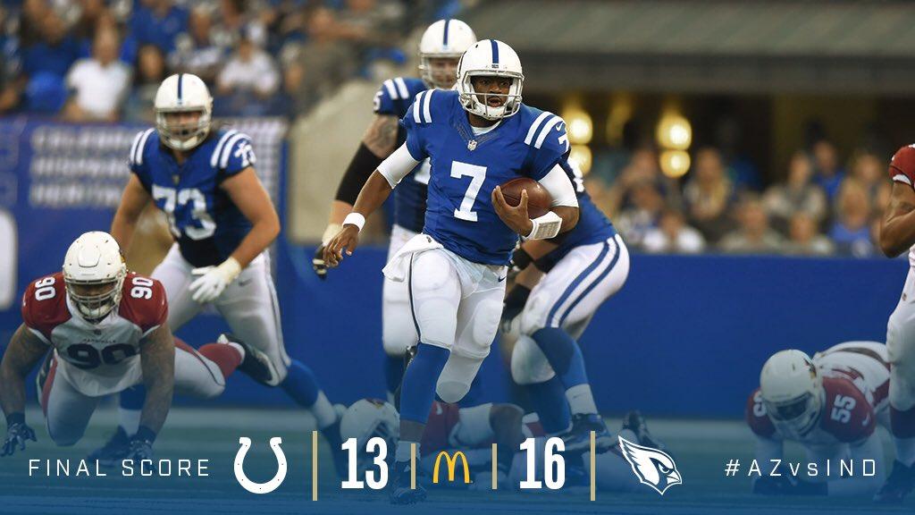 Cardinals vencem Colts de virada.