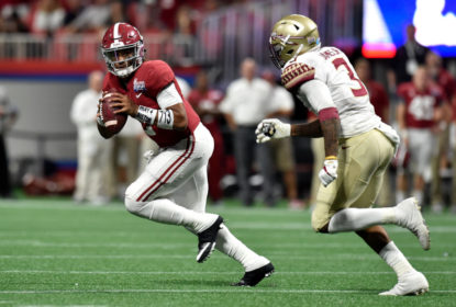 ATLANTA, GA - SEPTEMBER 02: Jalen Hurts #2 of the Alabama Crimson Tide looks to pass against the Florida State Seminoles during their game against the Florida State Seminoles at Mercedes-Benz Stadium on September 2, 2017 in Atlanta, Georgia.
