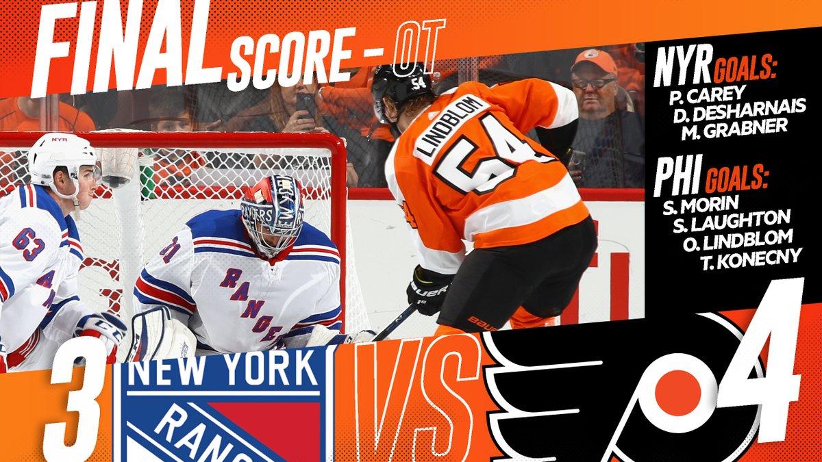 Com gol de Konecny na prorrogação, Flyers vencem Rangers