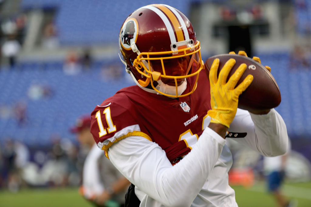 Wide receiver Terrelle Pryor #11 of the Washington Redskins warms up before the start of a preseason game against the Baltimore Ravens at M&T Bank Stadium on August 10, 2017 in Baltimore, Maryland.