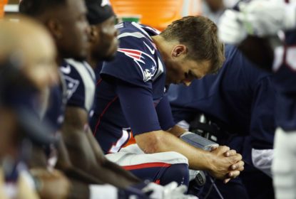 FOXBORO, MA - SEPTEMBER 07: Tom Brady #12 of the New England Patriots reacts on the bench during the second half against the Kansas City Chiefs at Gillette Stadium on September 7, 2017 in Foxboro, Massachusetts.