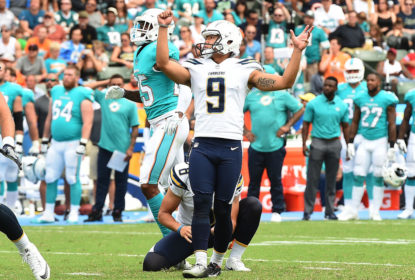 CARSON, CA - SEPTEMBER 17: Younghoe Koo #9 of the Los Angeles Chargers reacts after a field goal against Miami Dolphins during the first half of the NFL game at the StubHub Center September 17, 2017, in Carson, California.