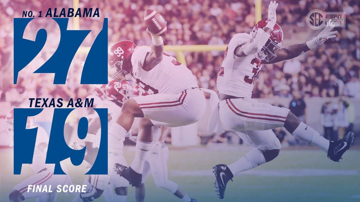 Alabama bate Texas A&M e vence sexta partida seguida na temporada