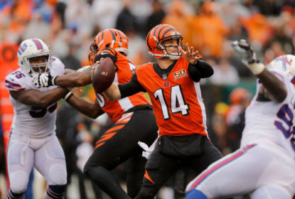 CINCINNATI, OH - OCTOBER 8: Andy Dalton #14 of the Cincinnati Bengals throws a pass during the second quarter of the game against the Buffalo Bills at Paul Brown Stadium on October 8, 2017 in Cincinnati, Ohio.