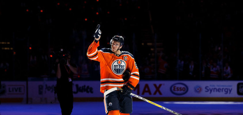 EDMONTON, AB - OCTOBER 04: Connor McDavid #97 of the Edmonton Oilers is named first star of the night against the Calgary Flames at Rogers Place on October 4, 2017 in Edmonton, Canada.