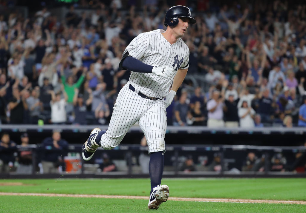 NEW YORK, NY - OCTOBER 08: Greg Bird #33 of the New York Yankees celebrates after hitting a solo-homerun during the seventh inning against the Cleveland Indians in game three of the American League Division Series at Yankee Stadium on October 8, 2017 in New York City.