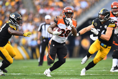 PITTSBURGH, PA - OCTOBER 22: Joe Mixon #28 of the Cincinnati Bengals carries the ball against the Pittsburgh Steelers in the first half during the game at Heinz Field on October 22, 2017 in Pittsburgh, Pennsylvania.