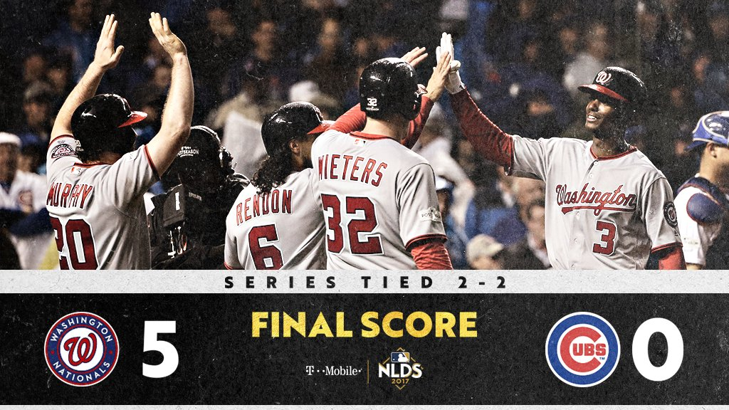 Strasburg domina ataque dos Cubs e Nationals vencem jogo 4 da NLDS