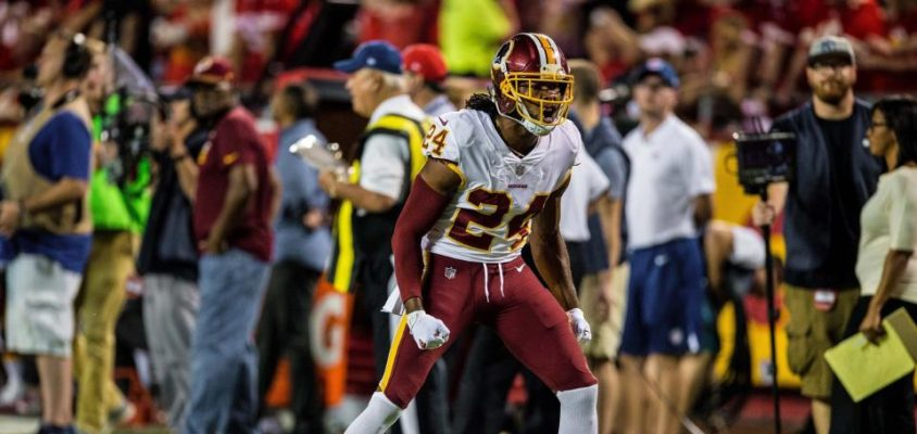 Josh Norman, do Washington Redskins, sofreu lesãodurante partida do Monday NIght Football na Semana 4, diantes do Kansa City Chiefs, na NFL 2017..