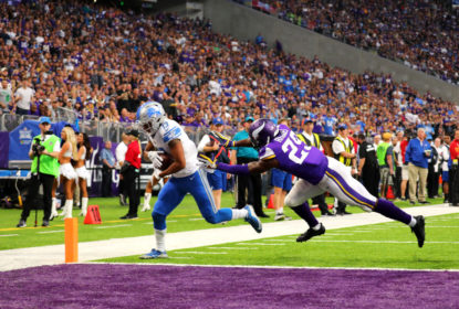MINNEAPOLIS, MN - OCTOBER 1: T.J. Jones #13 of the Detroit Lions lunges into the end zone with the ball for a successful two point conversion in the third quarter of the game against the Minnesota Vikings on October 1, 2017 at U.S. Bank Stadium in Minneapolis, Minnesota.