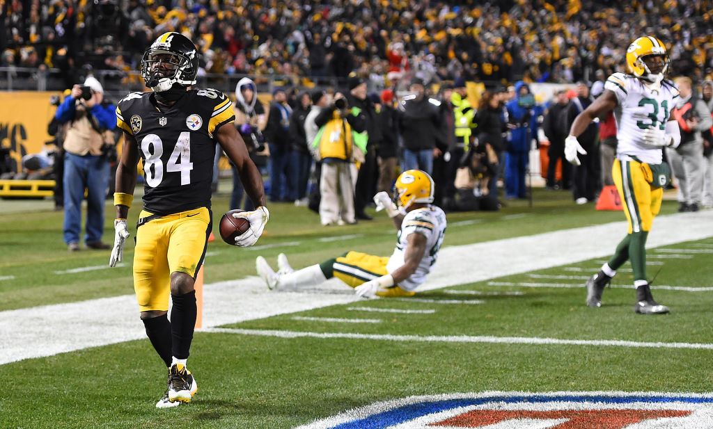 PITTSBURGH, PA - NOVEMBER 26: Antonio Brown #84 of the Pittsburgh Steelers reacts after a 33 yard touchdown reception in the fourth quarter during the game against the Green Bay Packers at Heinz Field on November 26, 2017 in Pittsburgh, Pennsylvania.
