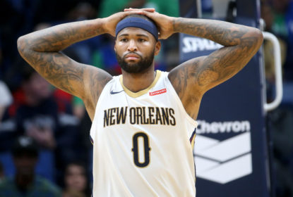 NEW ORLEANS, LA - OCTOBER 30: DeMarcus Cousins #0 of the New Orleans Pelicans reacts during the game against the Orlando Magic at the Smoothie King Center on October 30, 2017 in New Orleans, Louisiana