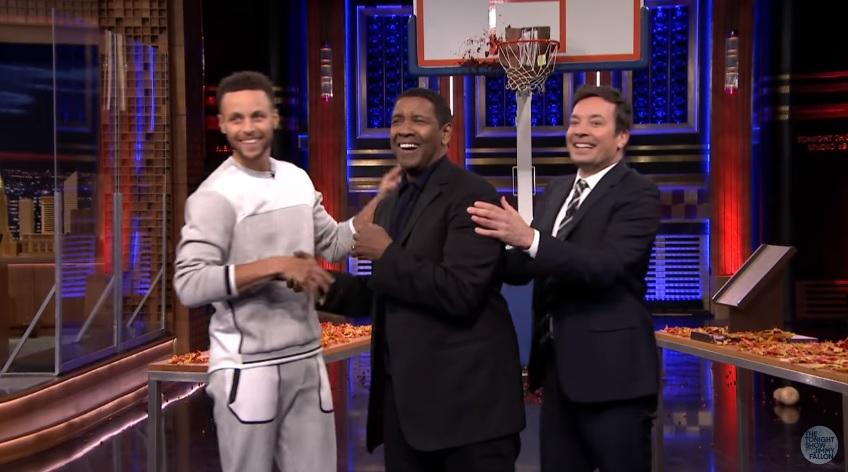 Stephen Curry participa de competição de arremessos com Denzel Washington - The Playoffs