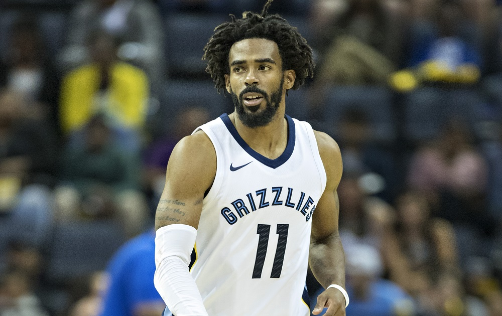 MEMPHIS, TN - OCTOBER 26: Mike Conley #11 of the Memphis Grizzlies on the court during a game against the Dallas Mavericks at the FedEx Forum on October 26, 2017 in Memphis, Tennessee.