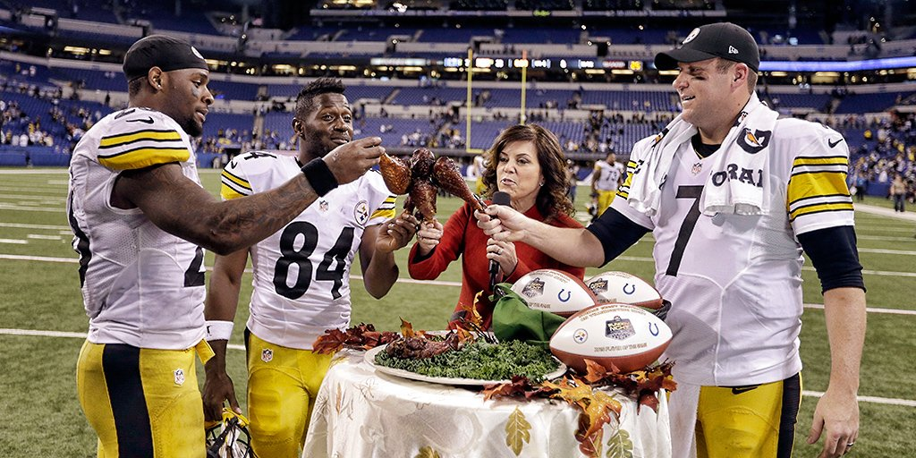 """Ceia"" improvisada de Le'Veon Bell, Antonio Brown, Ben Roethlisberger e Michele Tafoya no Thankgiving Night Game de 2016, da NFL"