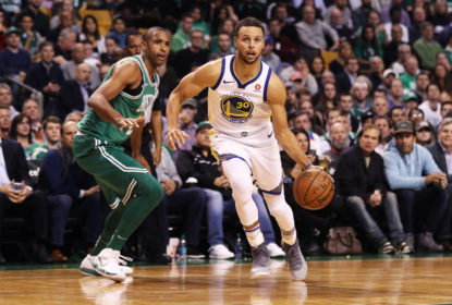 BOSTON, MA - NOVEMBER 16: Stephen Curry #30 of the Golden State Warriors drives past Al Horford #42 of the Boston Celtics during the first quarter at TD Garden on November 16, 2017 in Boston, Massachusetts.