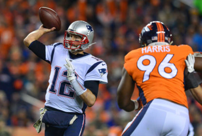 Quarterback Tom Brady #12 of the New England Patriots passes against the Denver Broncos at Sports Authority Field at Mile High on November 12, 2017 in Denver, Colorado.