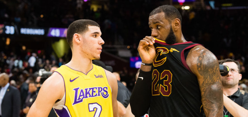 CLEVELAND, OH - DECEMBER 14: Lonzo Ball #2 of the Los Angeles Lakers listens to LeBron James #23 of the Cleveland Cavaliers during after the game at Quicken Loans Arena on December 14, 2017 in Cleveland, Ohio. The Cavaliers defeated the Lakers 121-112
