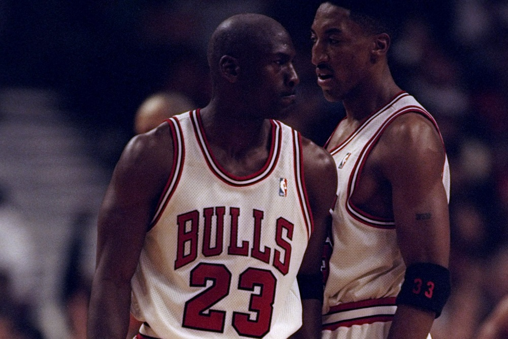 3 May 1998: Michael Jordan #23 bumps Scottie Pippen #33 of the Chicago