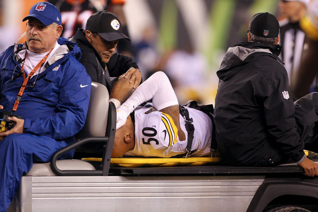 CINCINNATI, OH - DECEMBER 04: Ryan Shazier #50 of the Pittsburgh Steelers reacts as he is carted off the field after a injury against the Cincinnati Bengals during the first half at Paul Brown Stadium on December 4, 2017 in Cincinnati, Ohio.