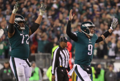 PHILADELPHIA, PA - JANUARY 21: Nick Foles #9 of the Philadelphia Eagles celebrates a first quarter touchdown against the Minnesota Vikings in the NFC Championship game at Lincoln Financial Field