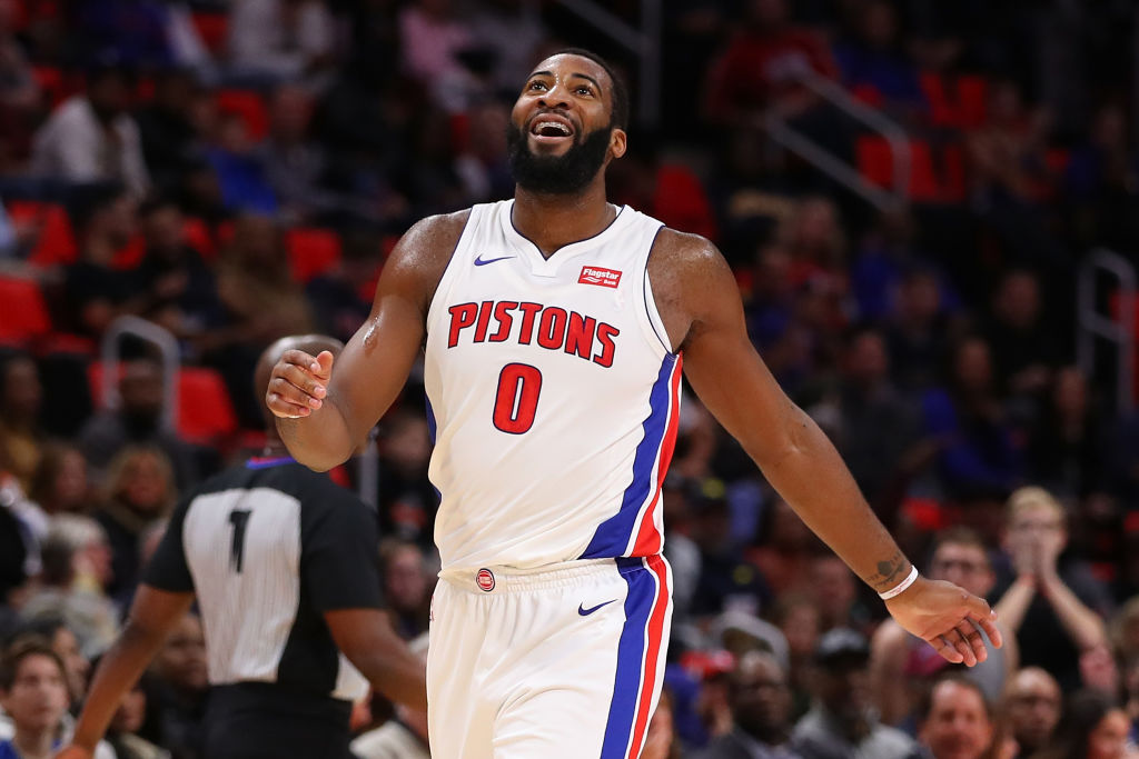 DETROIT, MI - DECEMBER 08: Andre Drummond #0 of the Detroit Pistons reacts to a offensive basket interference call during the first half while playing the Golden State Warriors at Little Caesars Arena on December 8, 2017 in Detroit, Michigan