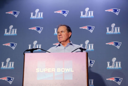 BLOOMINGTON, MN - JANUARY 30: Head coach Bill Belichick of the New England Patriots speaks with the press during the New England Patriots Media Availability during Super Bowl LII week at the Mall of America on January 30, 2018 in Bloomington, Minnesota.The New England Patriots will face the Philadelphia Eagles in Super Bowl LII on February 4th.