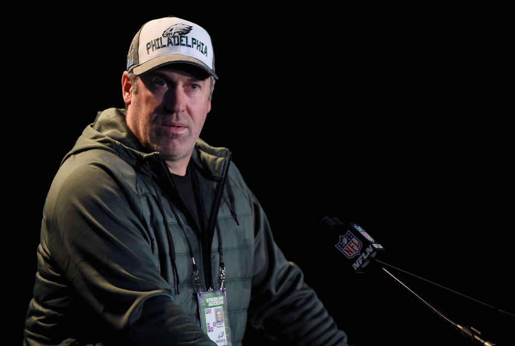 BLOOMINGTON, MN - JANUARY 31: Head coach Doug Pederson of the Philadelphia Eagles speaks to the media during Super Bowl LII media availability on January 31, 2018 at Mall of America in Bloomington, Minnesota. The Philadelphia Eagles will face the New England Patriots in Super Bowl LII on February 4th.