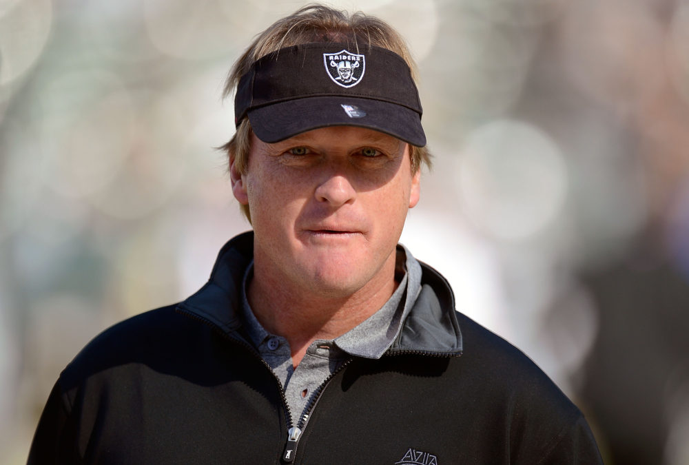 OAKLAND, CA - NOVEMBER 18: Former head coach of the Oakland Raiders and now ESPN Monday Night Football Analyst Jon Gruden looks on during pre-game warm ups before an NFL football game between the New Orleans Saints and Oakland Raiders at O.co Coliseum on November 18, 2012 in Oakland, California.