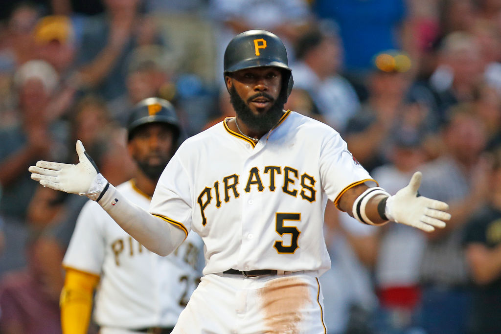 PITTSBURGH, PA - AUGUST 21: Josh Harrison #5 of the Pittsburgh Pirates reacts after hitting a solo home run in the third inning against the Los Angeles Dodgers at PNC Park on August 21, 2017 in Pittsburgh, Pennsylvania.