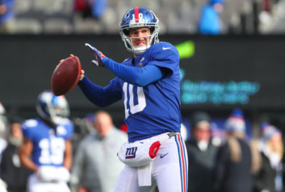 EAST RUTHERFORD, NJ - DECEMBER 31: Eli Manning #10 of the New York Giants throws a pass during warmups for the NFL game against the Washington Redskins at MetLife Stadium on December 31, 2017 in East Rutherford, New Jersey. (Photo by Ed Mulholland/Getty Images)
