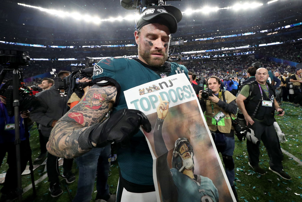 MINNEAPOLIS, MN - FEBRUARY 04: Chris Long #56 of the Philadelphia Eagles celebrates after defeating the New England Patriots 41-33 in Super Bowl LII at U.S. Bank Stadium on February 4, 2018 in Minneapolis, Minnesota