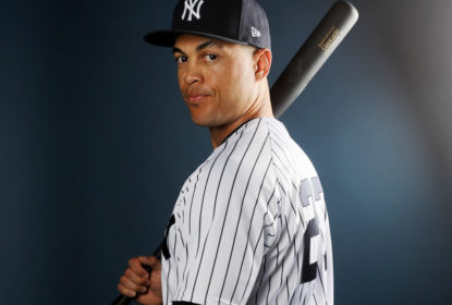 TAMPA, FL - FEBRUARY 21: Giancarlo Stanton #27 of the New York Yankees poses for a portrait during the New York Yankees photo day on February 21, 2018 at George M. Steinbrenner Field in Tampa, Florida. (Photo by Elsa/Getty Images)
