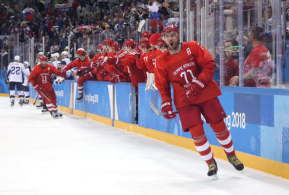 Ilya Kovalchuk #71 of Olympic Athlete from Russia celebrates after scoring a goal in the second period against the United States during the Men's Ice Hockey Preliminary Round Group B game on day eight of the PyeongChang 2018 Winter Olympic Games at Gangneung Hockey Centre on February 17, 2018 in Gangneung, South Korea.