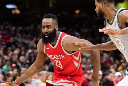 CLEVELAND, OH - FEBRUARY 3: James Harden #13 of the Houston Rockets drives around Tristan Thompson #13 of the Cleveland Cavaliers during the first half at Quicken Loans Arena on February 3, 2018 in Cleveland, Ohio