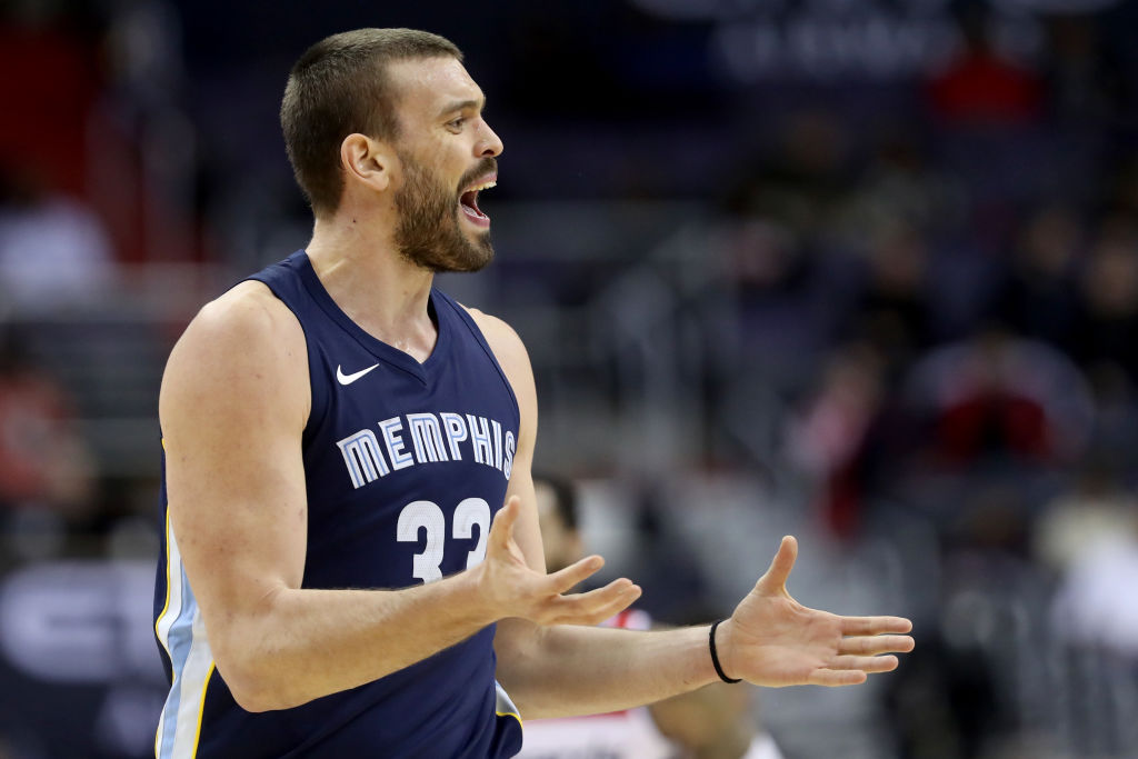 WASHINGTON, DC - DECEMBER 13: Marc Gasol #33 of the Memphis Grizzlies reacts after being called for a technical foul against the Washington Wizards in the second half at Capital One Arena on December 13, 2017 in Washington, DC