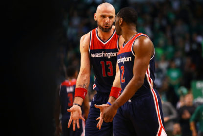 BOSTON, MA - APRIL 30: Marcin Gortat #13 of the Washington Wizards talks with John Wall #2 during the third quarter of Game One of the Eastern Conference Semifinals against the Boston Celtics at TD Garden on April 30, 2017 in Boston, Massachusetts. NOTE TO USER: User expressly acknowledges and agrees that, by downloading and or using this Photograph, user is consenting to the terms and conditions of the Getty Images License Agreement.