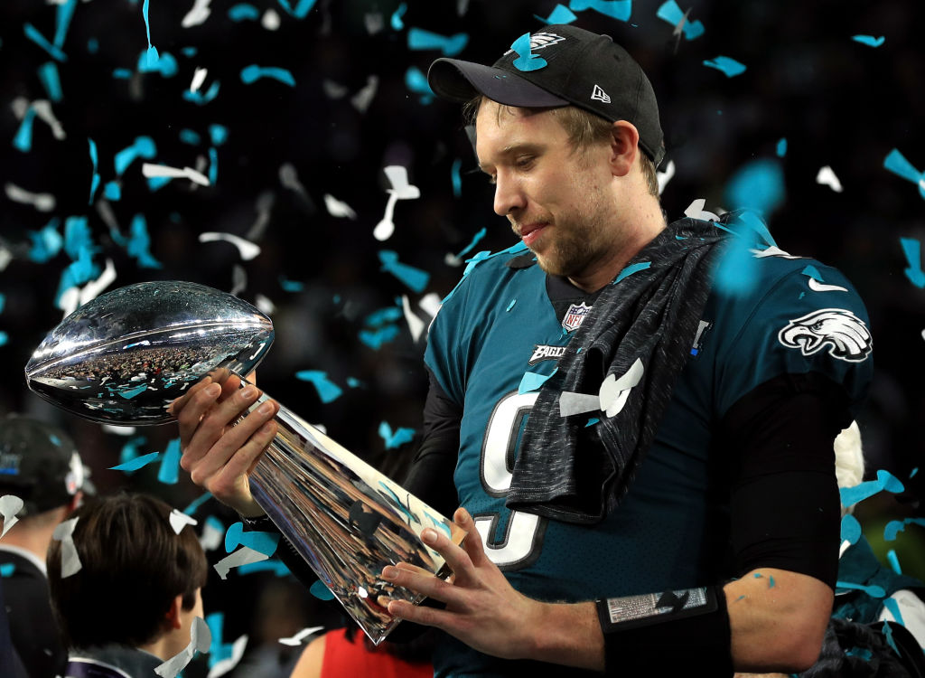 Nick Foles #9 of the Philadelphia Eagles celebrates with the Lombardi Trophy after defeating the New England Patriots 41-33 in Super Bowl LII at U.S. Bank Stadium on February 4, 2018 in Minneapolis, Minnesota.