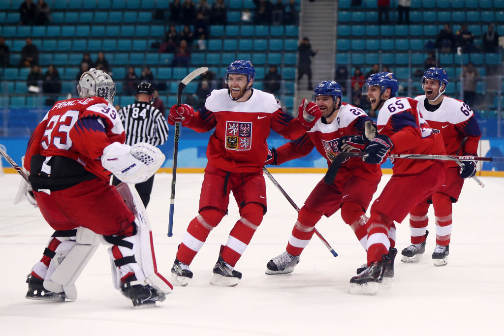 Team Czech Republic celebrates after defeating the United States 3-2 in an overtime shootout during the Men's Play-offs Quarterfinals on day twelve of the PyeongChang 2018 Winter Olympic Games at Gangneung Hockey Centre on February 21, 2018 in Gangneung, South Korea.